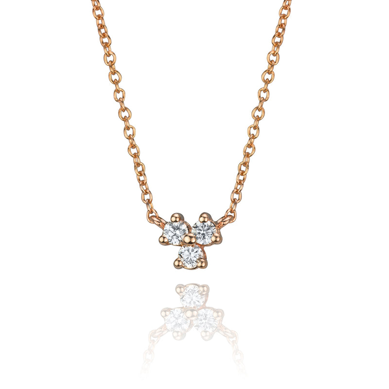 lafia goddess three point diamond necklace in 14 karat rose gold
