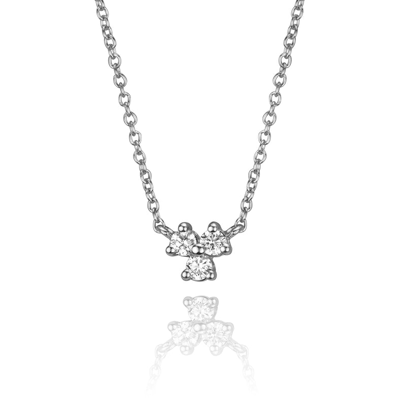 lafia goddess three point diamond necklace in 14 karat white gold