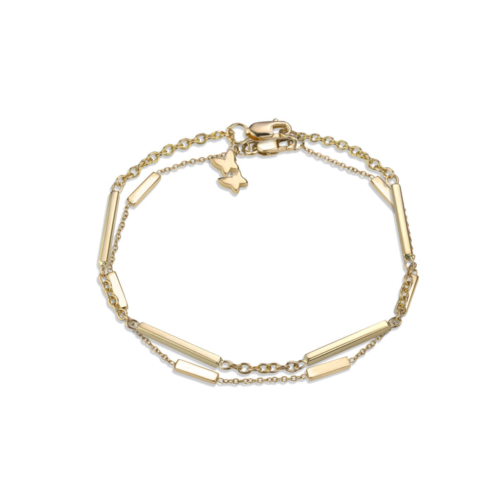 Layered large line bracelet on medium rolo chain with line bracelet in 14k yellow gold signature Lafia lobster clasp