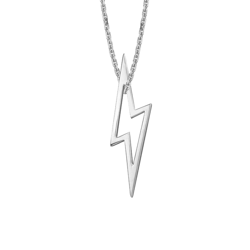 lafia charm collection small lightning necklace on oval channel chain set in 14k white gold