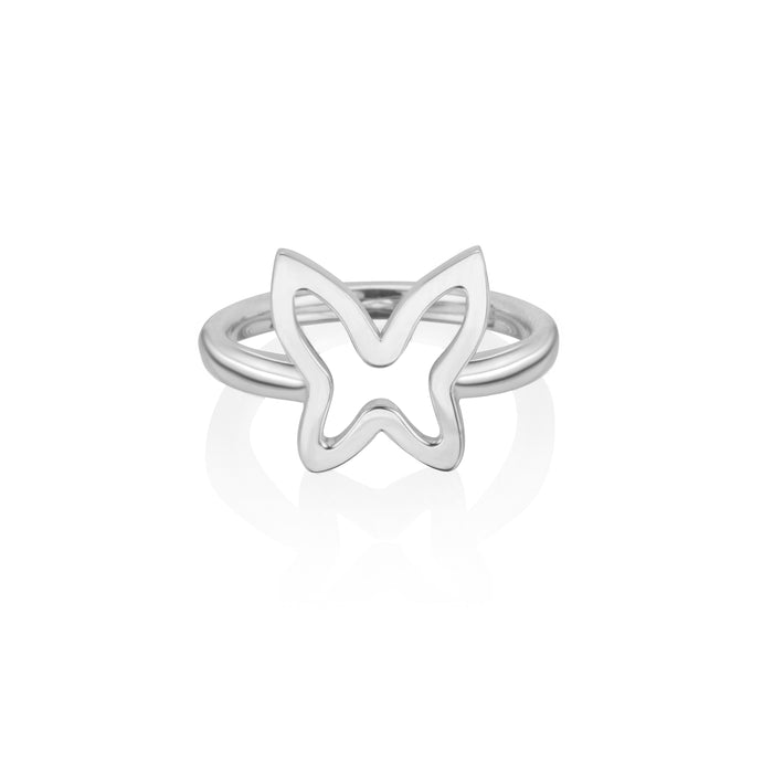 lafia collection open butterfly ring in white gold