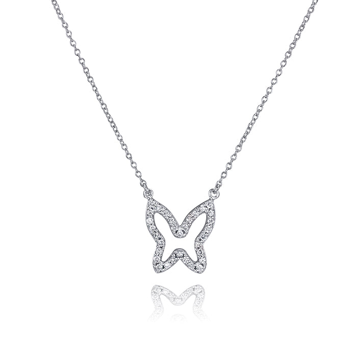 lafia collection diamond open butterfly necklace 14 karat white gold