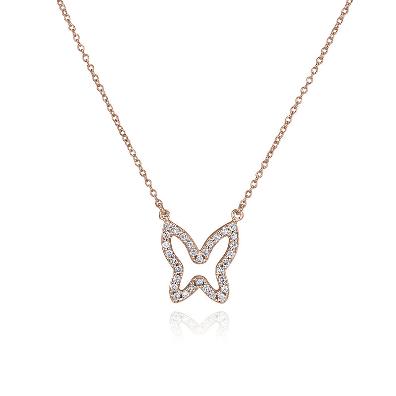 lafia collection diamond open butterfly necklace 14 karat rose gold