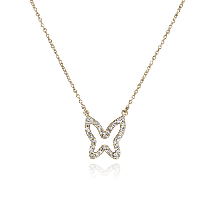 lafia collection diamond open butterfly necklace 14 karat yellow gold