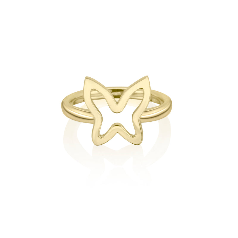 lafia collection open butterfly ring in yellow gold