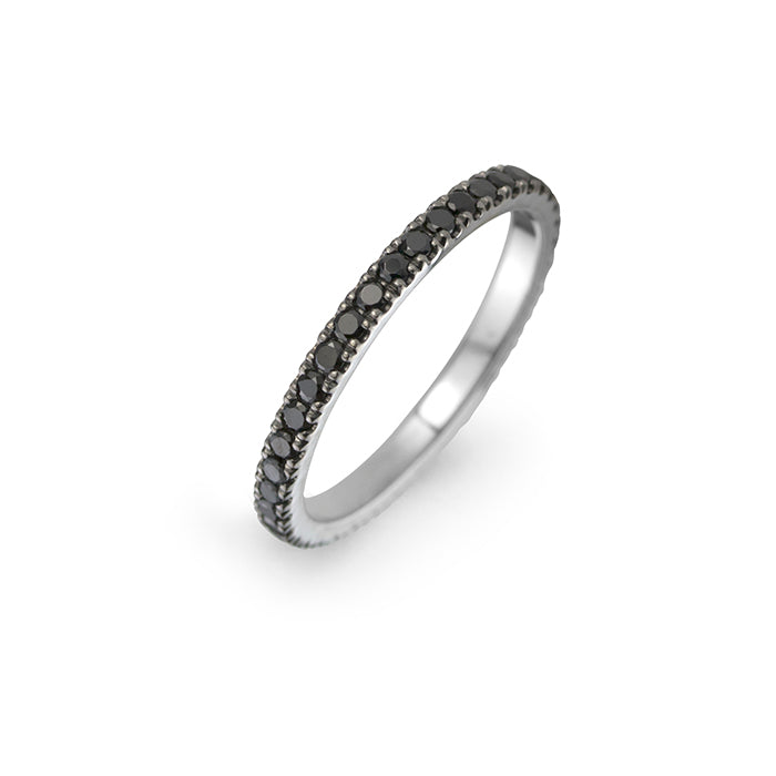 lafia midnight collection u-channel set black diamond eternity ring 14 karat white gold