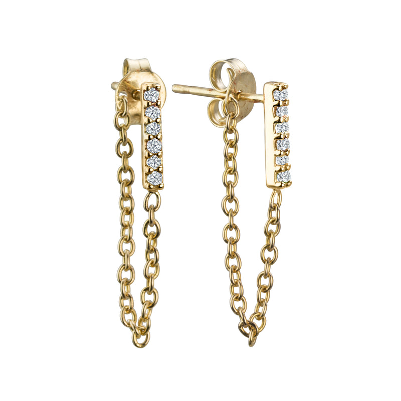 Petite diamond line earrings with chain in 14k yellow gold, diamonds 6pts