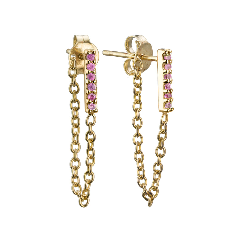 lafia straight and narrow and stud collection in pink sapphire line stud 14 karat yellow gold