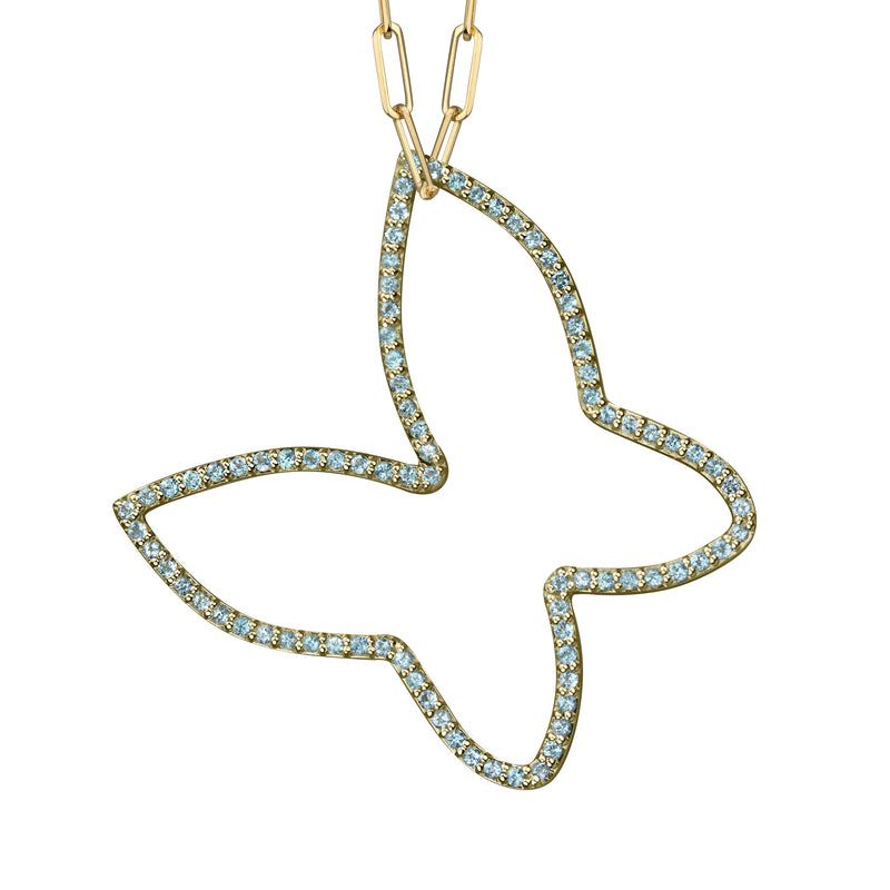 Butterfly Charm with Semi-precious stones in 14k yellow gold on medium paperclip chain
