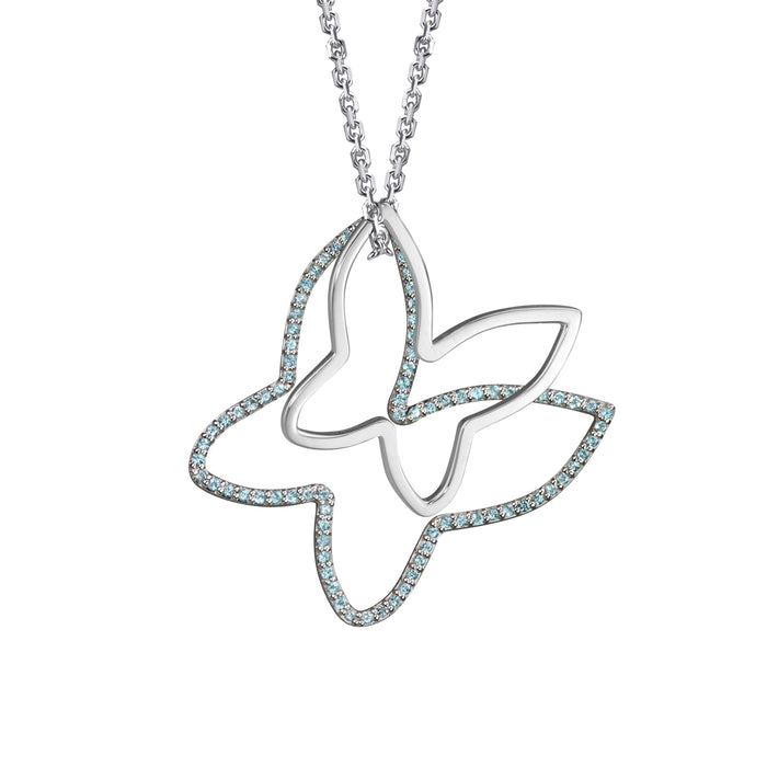 Butterfly Charm with Semi-precious stones (large) and butterfly charm (small) in 14k white gold on oval link chain