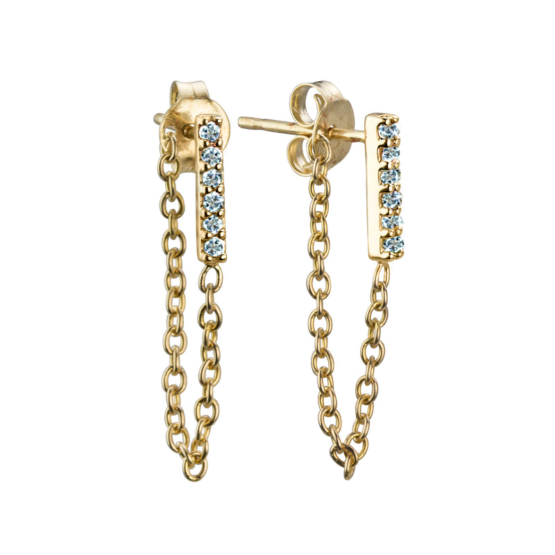 BLUE TOPAZ CHAIN EARRINGS