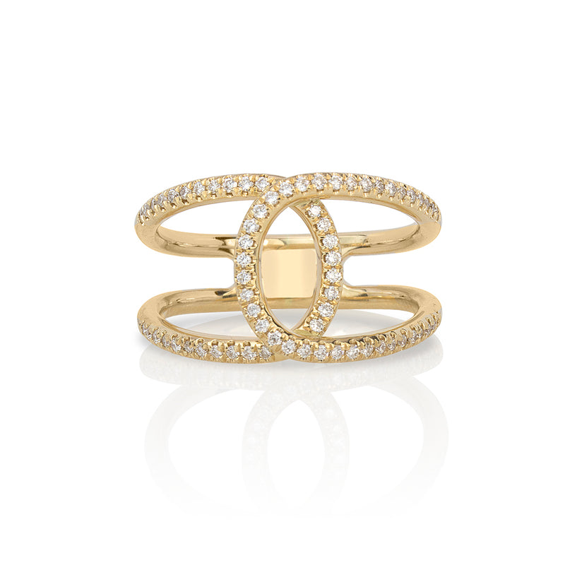 lafia goddess crossover ring yellow gold