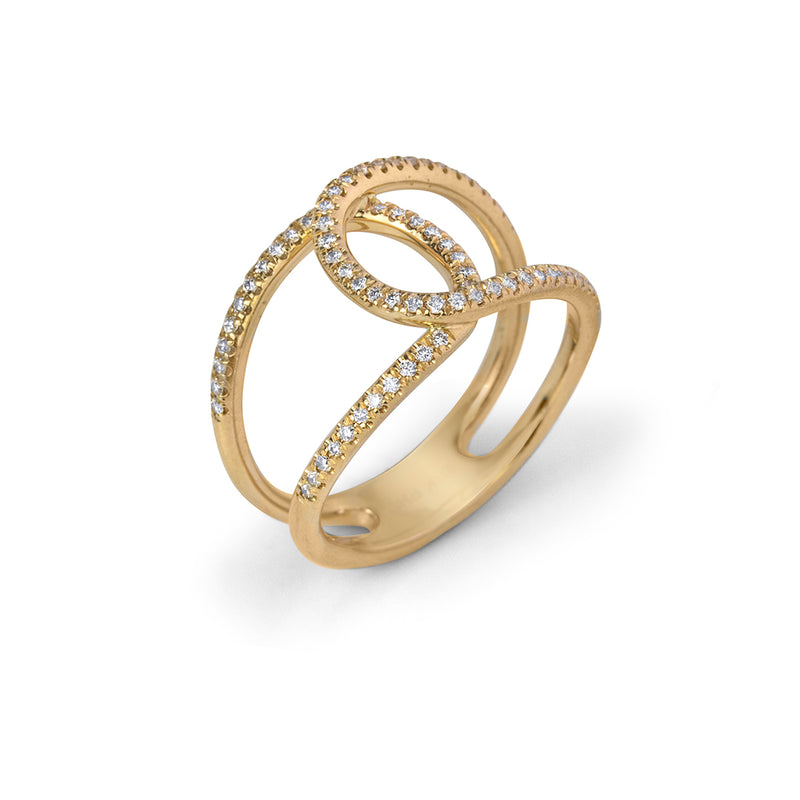 lafia goddess crossover ring yellow gold side angle