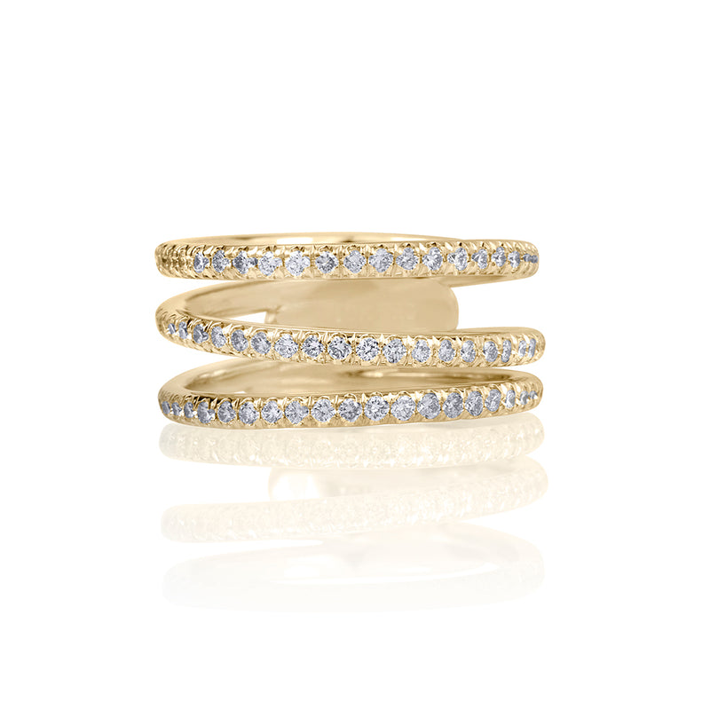 lafia goddess modern triple eternity ring yellow gold