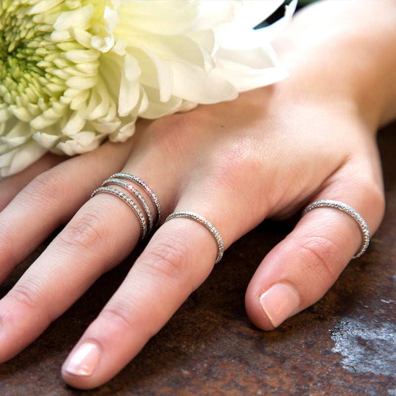 lafia goddess modern triple eternity ring on hand