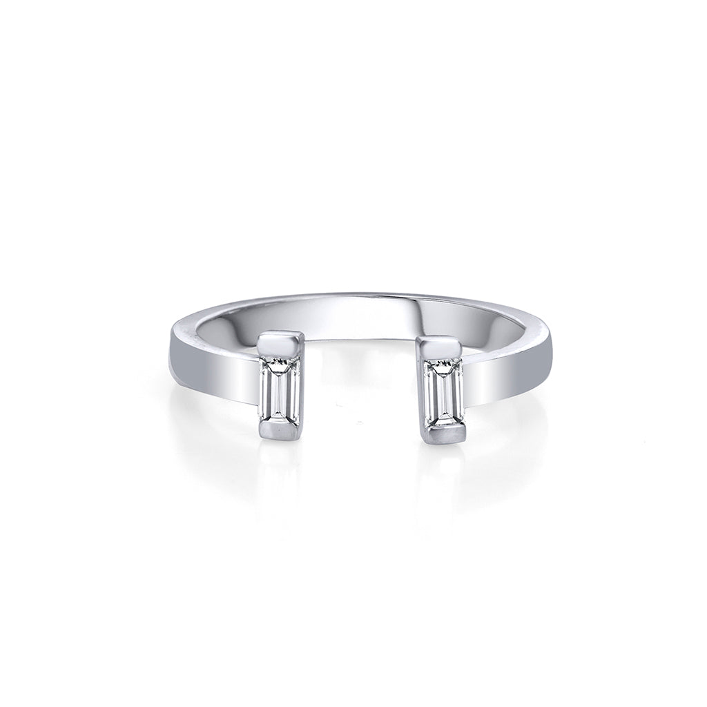 lafia matchstick baguette open band ring white gold