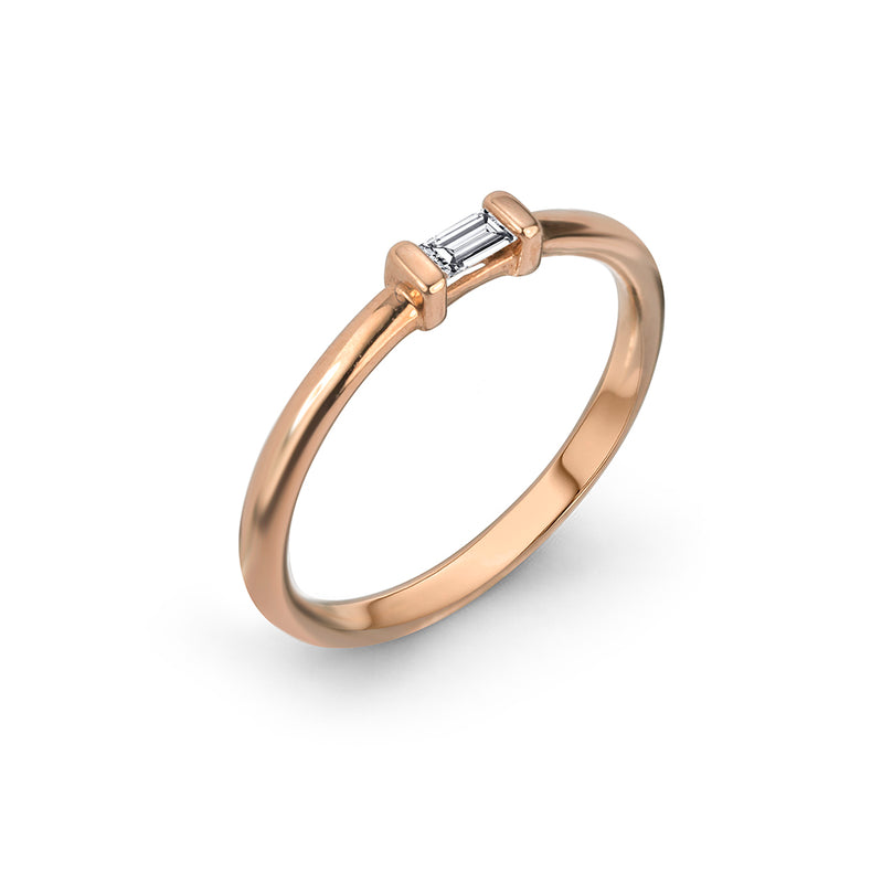 lafia matchstick baguette stacking ring rose gold