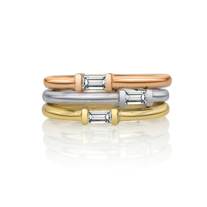 lafia matchstick baguette stacking rings stacked