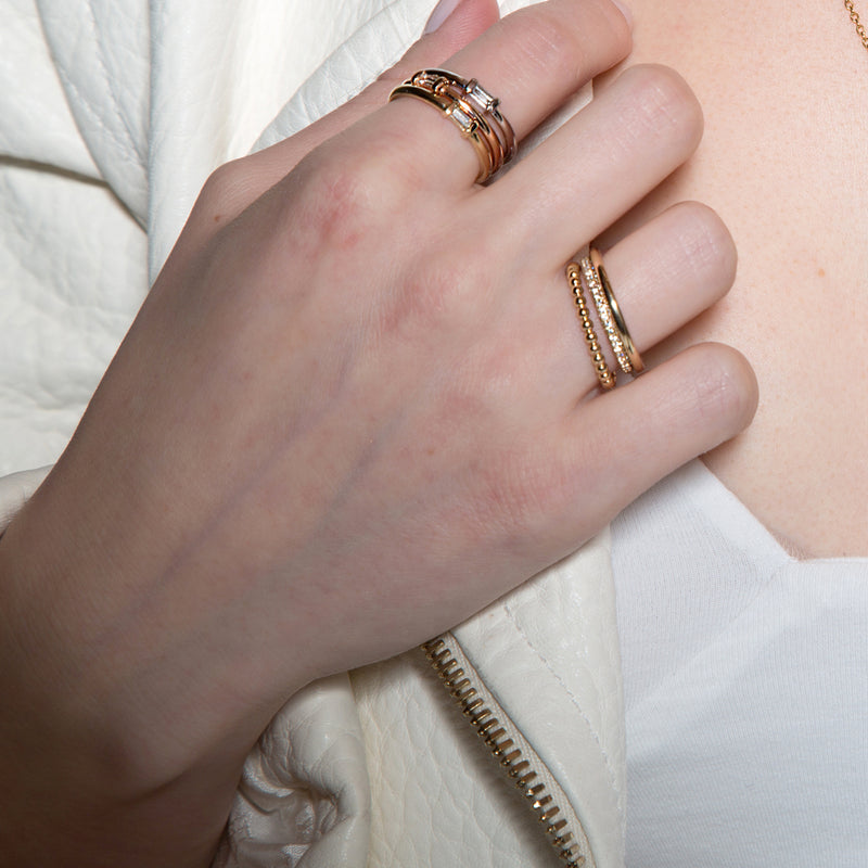lafia matchstick baguette stacking ring on finger