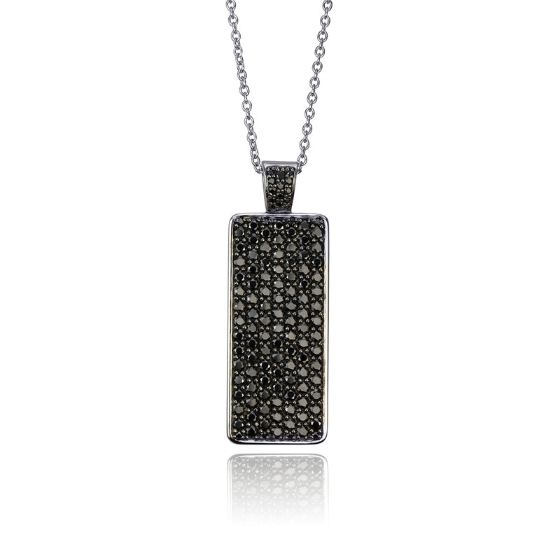 lafia midnight black diamond ID tag necklace white gold