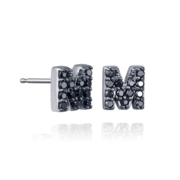 lafia name it black diamond initial stud white gold