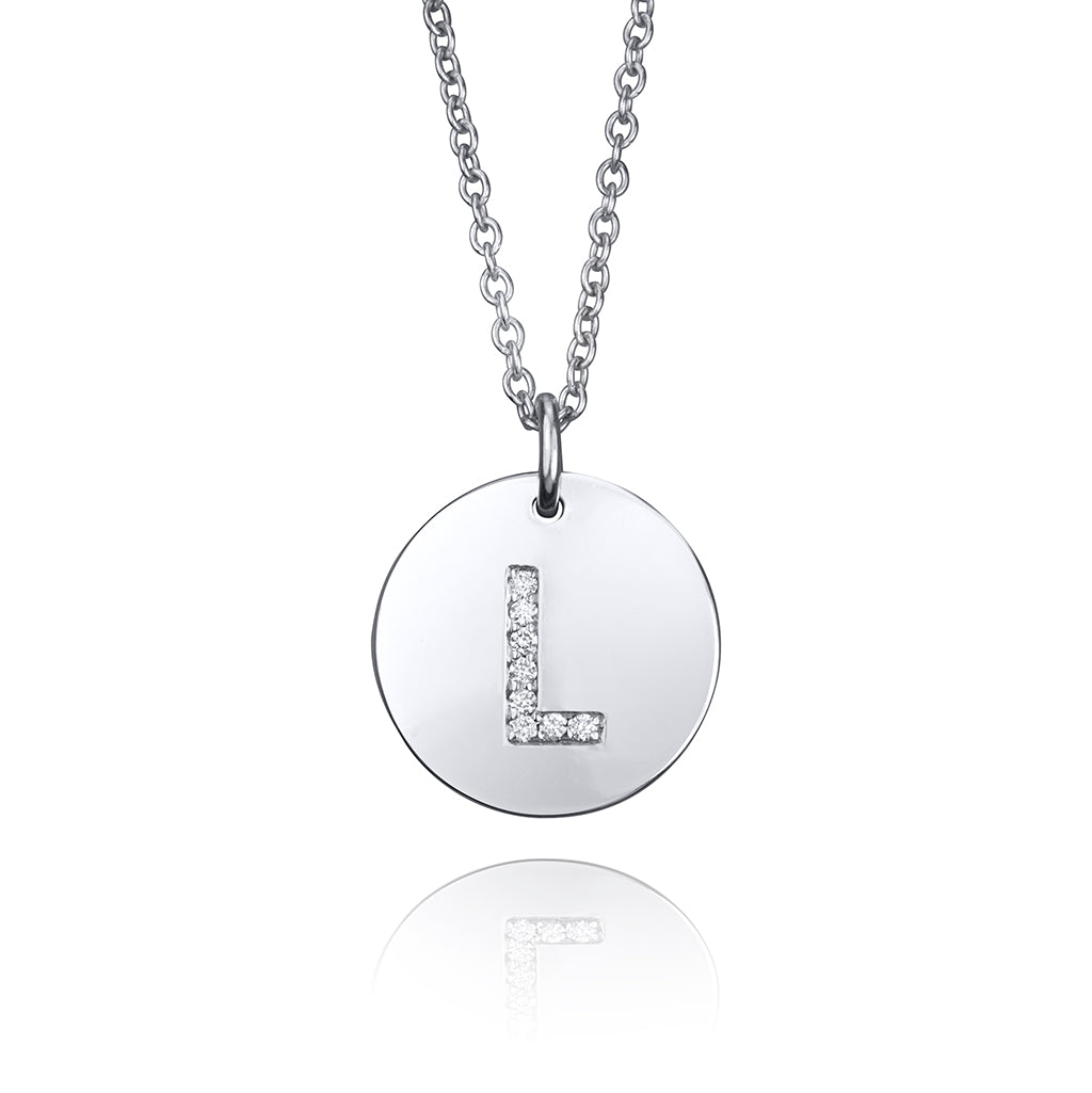 lafia name it diamond initial disk pendant white gold