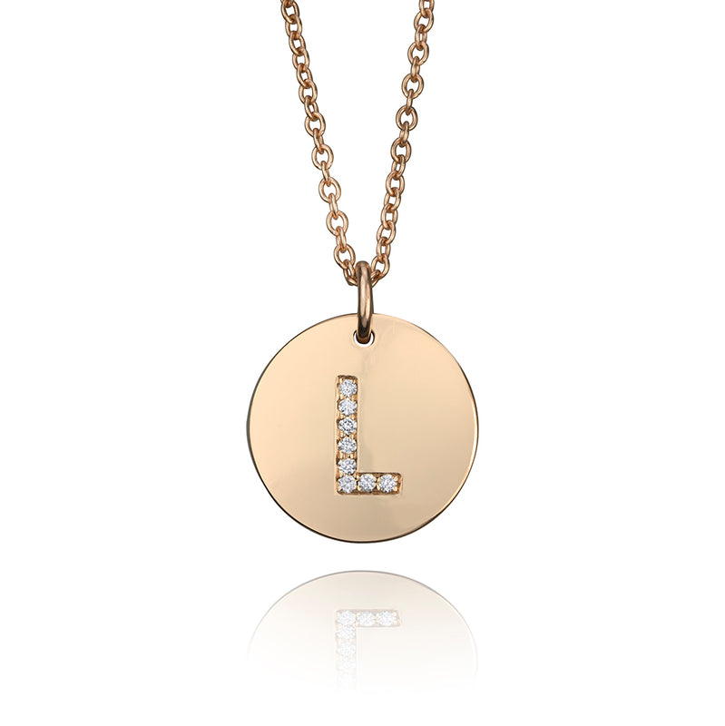 lafia name it diamond initial disk pendant rose gold