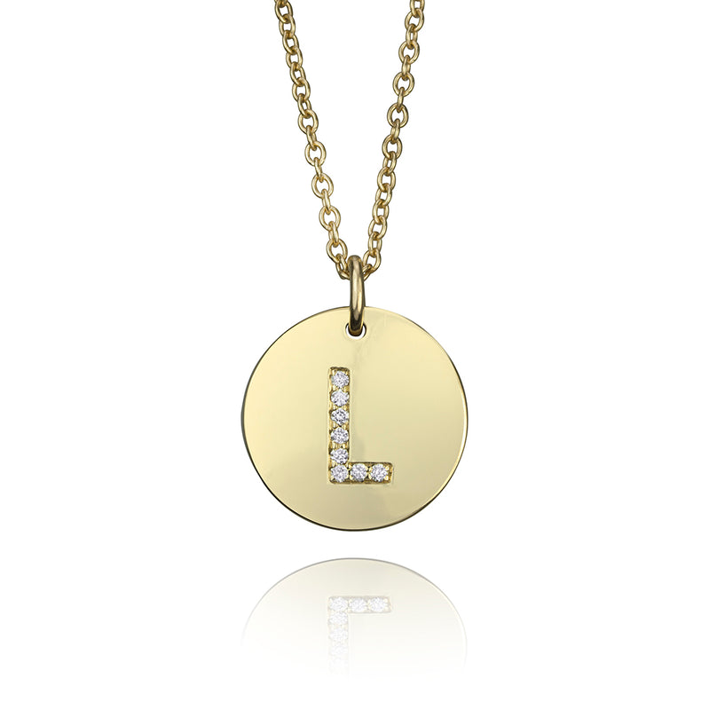 lafia name it diamond initial disk pendant yellow gold