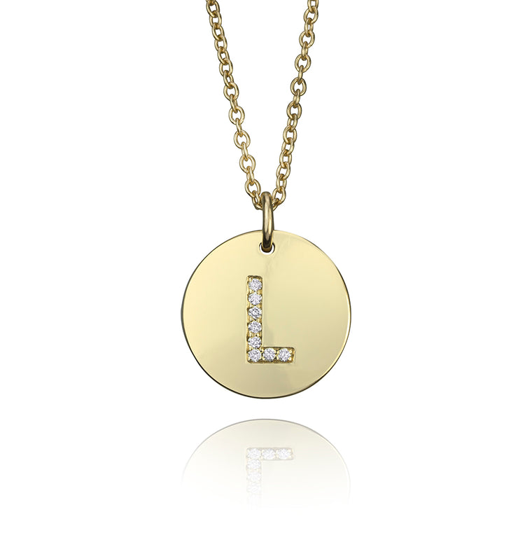 DIAMOND INITIAL DISK PENDANT-Large