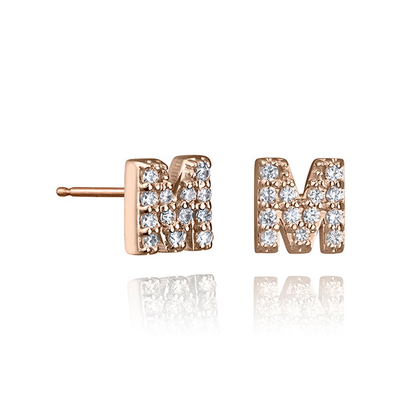 lafia name it diamond initial stud rose gold alternate letter