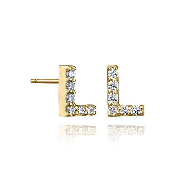 lafia name it diamond initial stud yellow gold