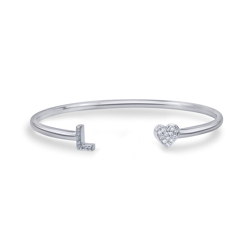 lafia name it diamond two character bangle white gold
