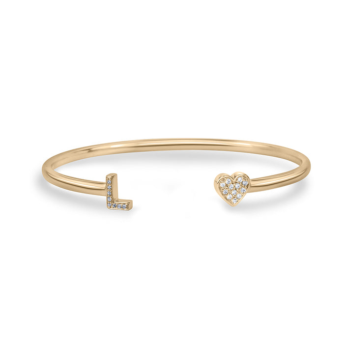 lafia name it diamond two character bangle yellow gold