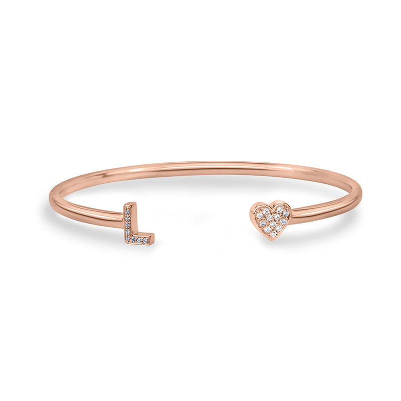 lafia name it diamond two character bangle rose gold