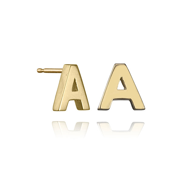lafia name it initial stud yellow gold