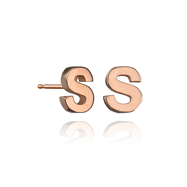 lafia name it initial stud rose gold alternate letter