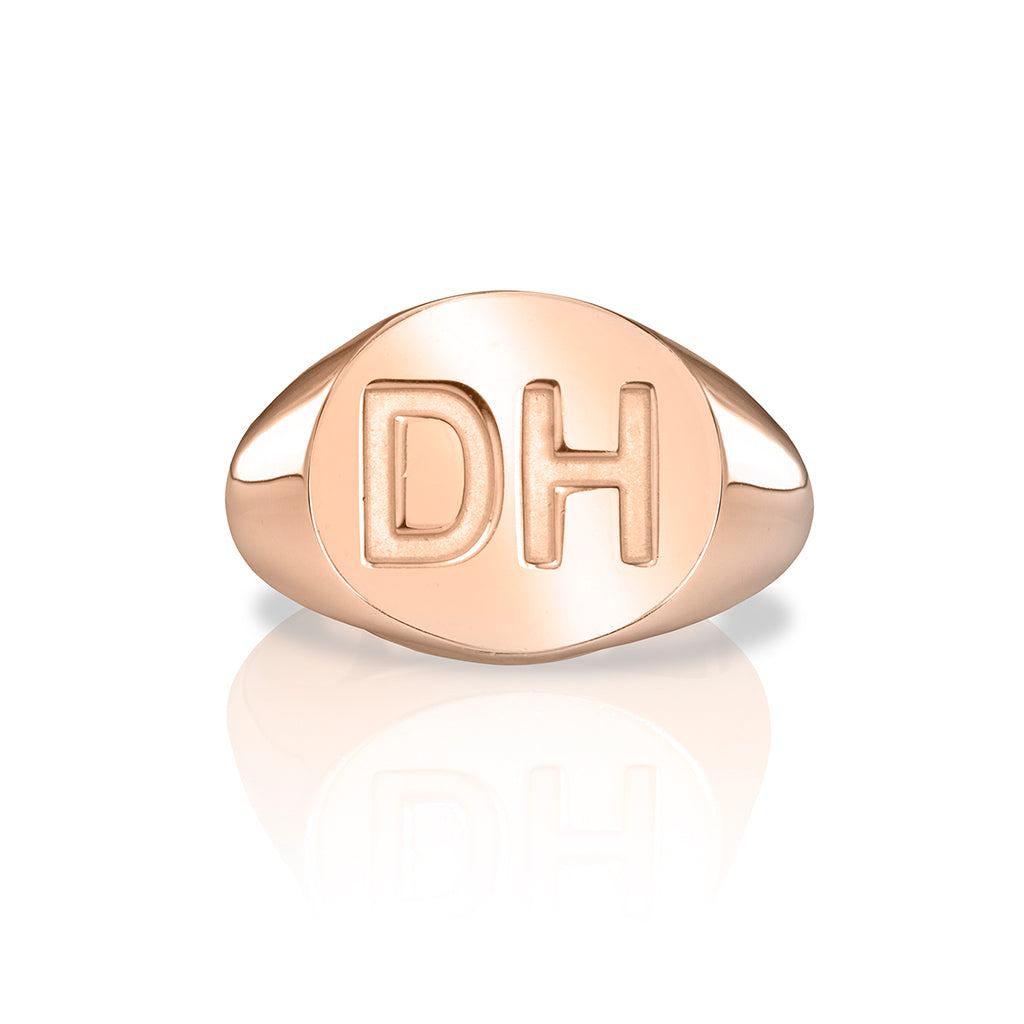 lafia name it oval signet ring rose gold