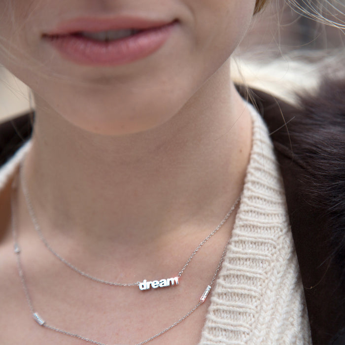 lafia name it petite personalized necklace on neck