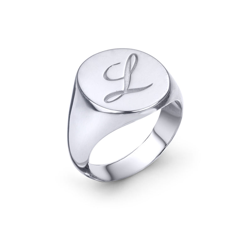 lafia name it signet ring white gold top view