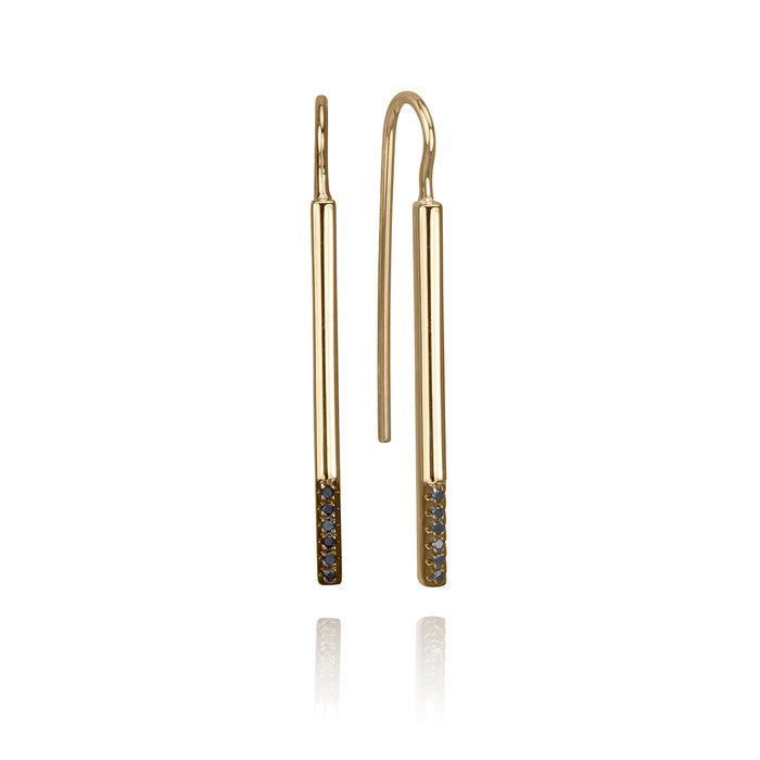 lafia straight and narrow black diamond accent french hook earrings yellow gold