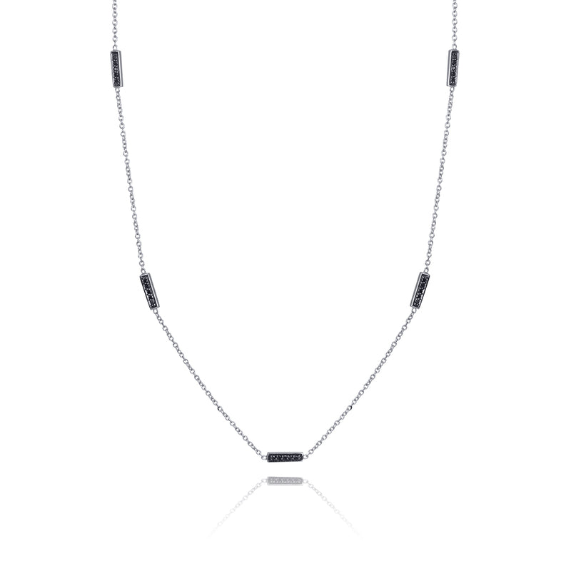 lafia straight and narrow black diamond line segment necklace white gold