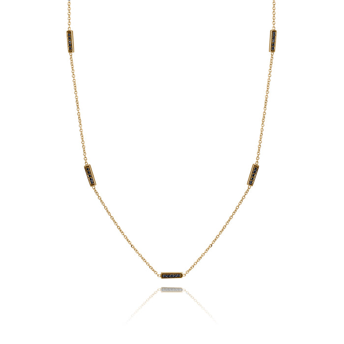 lafia straight and narrow black diamond line segment necklace yellow gold