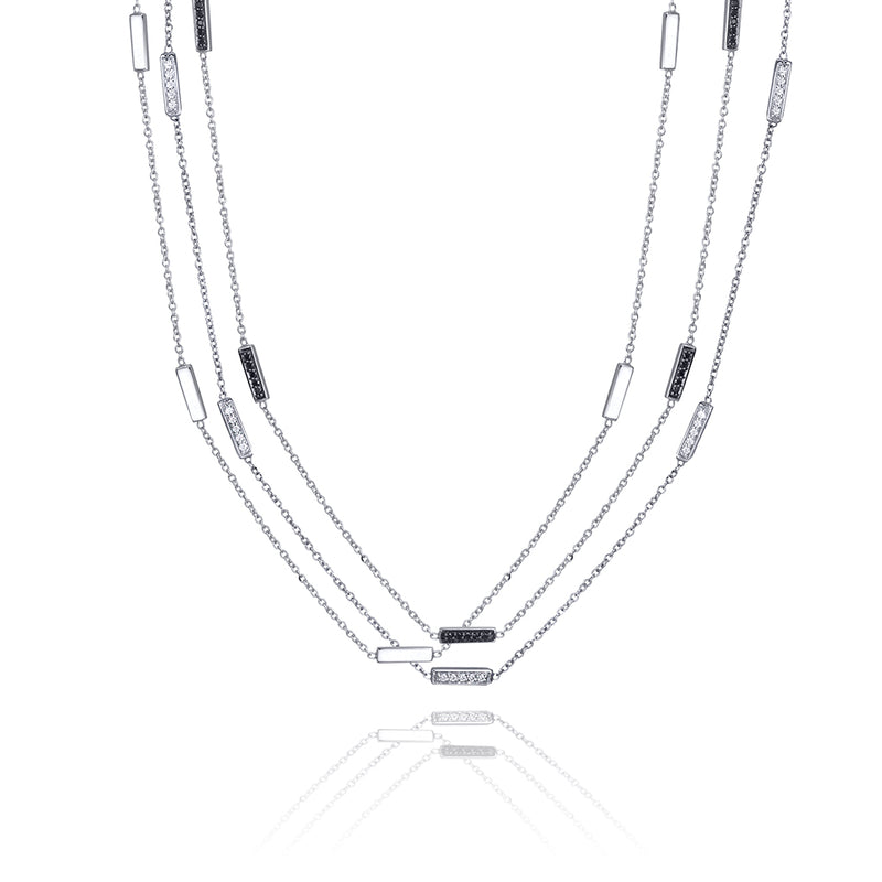 lafia straight and narrow black diamond line segment necklace layered