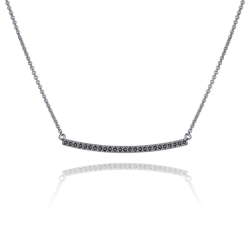 lafia straight and narrow black diamond narrow necklace white gold