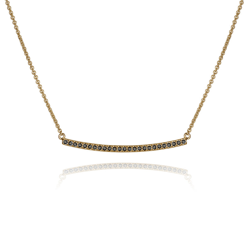 lafia straight and narrow black diamond narrow necklace yellow gold