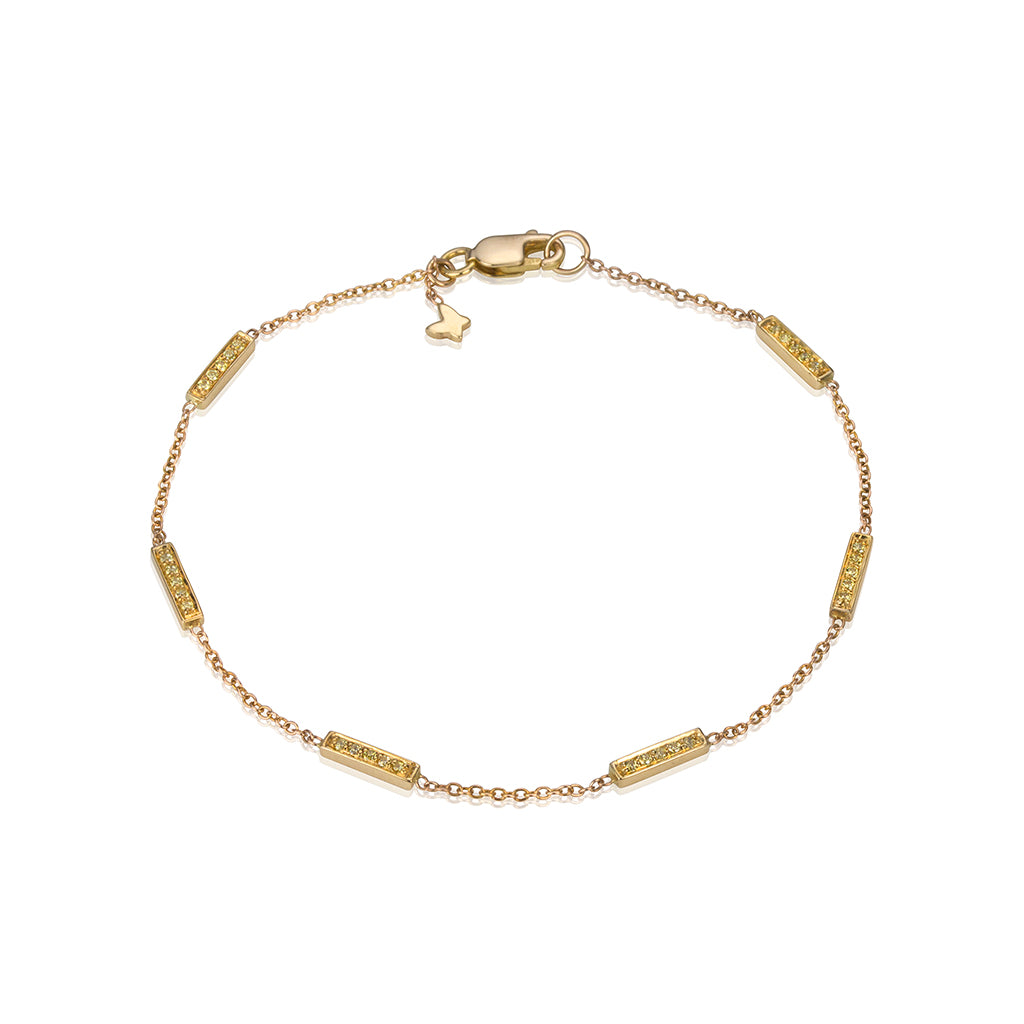 lafia straight and narrow canary diamond line segment bracelet yellow gold