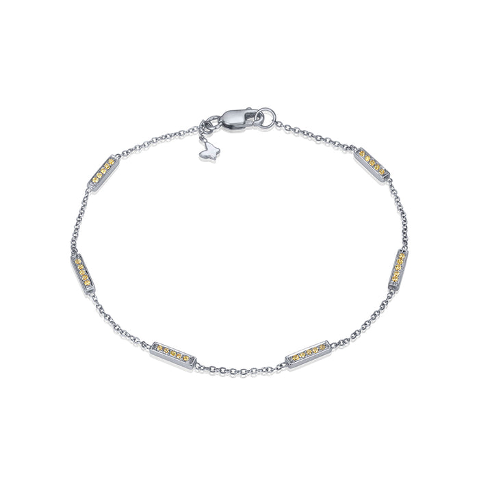 lafia straight and narrow canary diamond line segment bracelet white gold