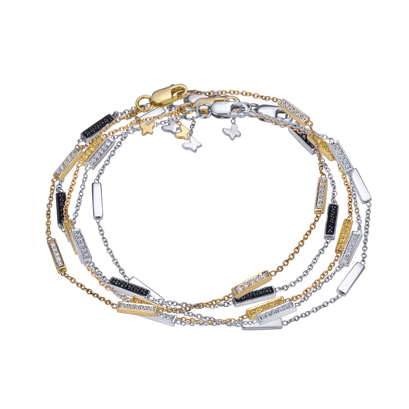 lafia straight and narrow canary diamond line segment bracelet layered