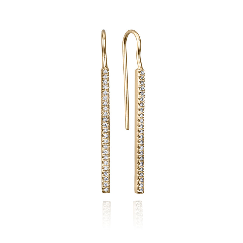 lafia straight and narrow diamond french hook earrings yellow gold