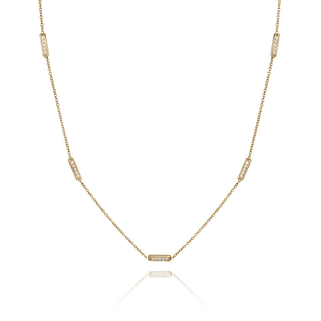 lafia straight and narrow diamond line segment necklace yellow gold